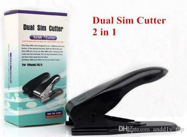 Steel Metal Upgrade 2 en 1 Nano Micro Sim Card Dual Slot Cutter Converter para Iphone 5g 5 4 4s Ipad 3 Samsung Galaxy S3 S4