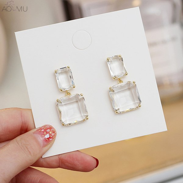 AOMU New S925 Sterling Silver Pin Crystal Transparent Geometric Square Gold Silver Metal Drop Earrings for Women Girl Jewelry
