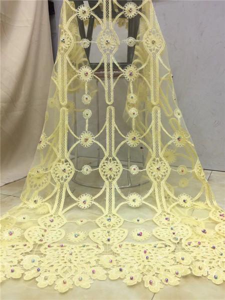 2018 haute qualité maille dentelle africaine guipure tissu français de dentelle avec perles paillettes africaine tissu de dentelle haute qualité or jaune
