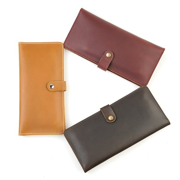 New Arrival Hand Made Women And Men Cowhide Wallet Coin Purse Card Package Fashion Leather Two Folding Purse Free Shipping