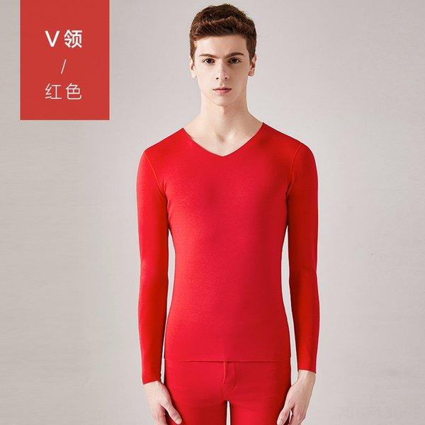 homens # 039; s V-neck-Vermelho