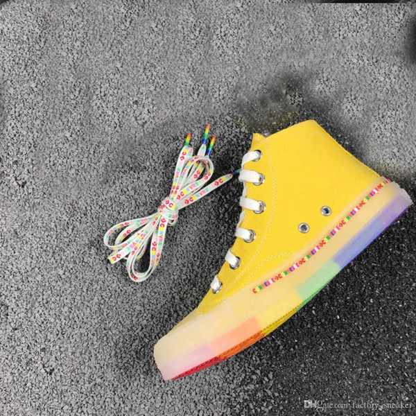 New jelly rainbow flat shoes summer new men and women with canvas casual wild high cut casual shoes