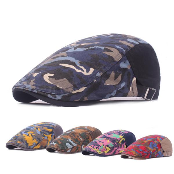 Graffiti Camouflage Berets Flat Ivy Golf Driving Cabbie Newsboy Hat Berets Spring Summer Autumn Winter Cap Wholesale