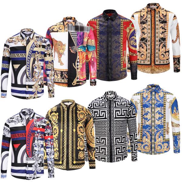 Nouveaux Hommes Casual Shirts Medusa Or Floral Print Mens Robe Chemise Habillée Motifs Chemises Slim Fit Hommes Mode Business Shirts Vêtements