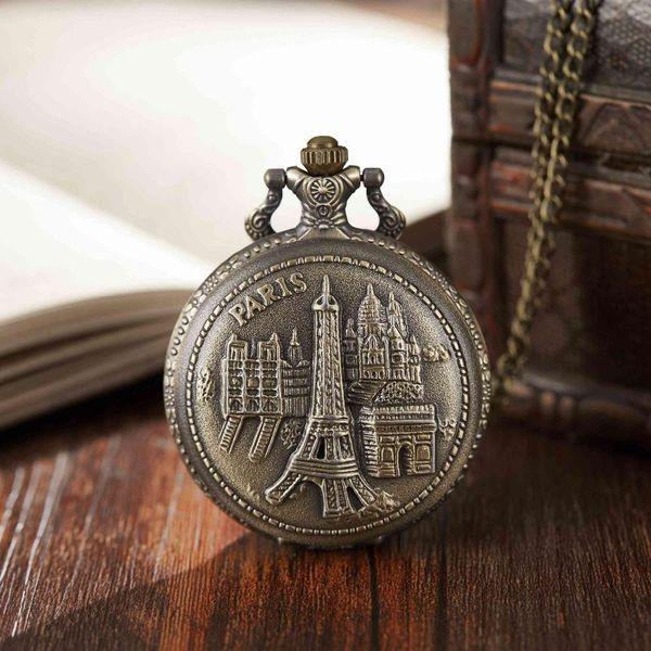 Coppia Visualizza Orologio da tasca Antique Tour Eiffel Bronze Full Hunter Orologi da tasca Collana Fob Clock With Necklace Women Men Gifts
