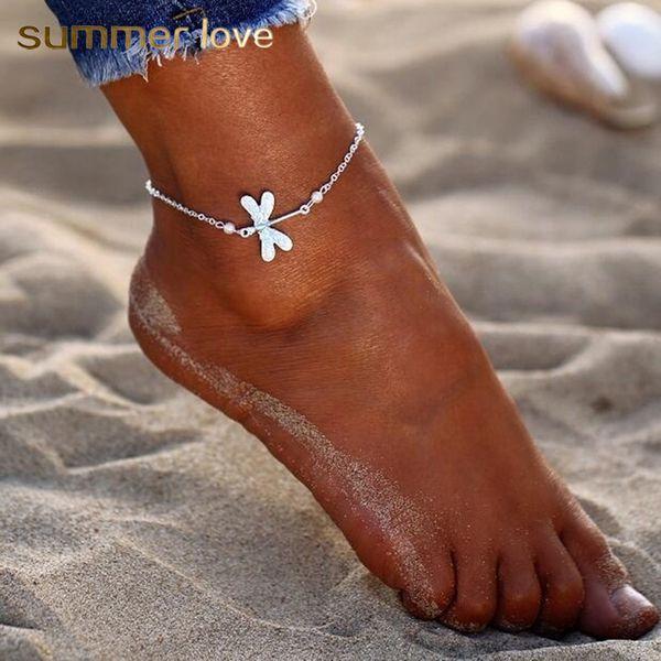 Yeni Bohemian Gümüş Plaj Bayan Yusufçuk Kristal Halhal Kadınlar için Bilezik Yalınayak Sandalet Inci Ayak Bileği Ayarlanabilir Zincir Takı Hediye