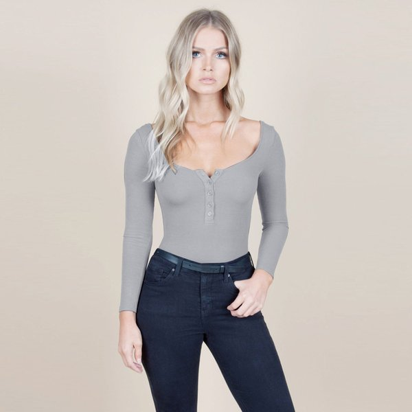 Women Sexy Long Sleeve Shirt Jumpsuit Low Collar Buttons Skinny Bodysuit Stretch Leotard Slim Top Blouse body mujer ED