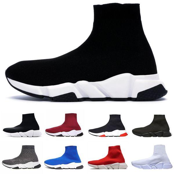 2019 Designer Chaussette Chaussures Vitesse Trainer Pour Hommes Femmes Sneakers Triple Black Fashion Chaussettes De Luxe Trainer Casual Chaussures 36-45