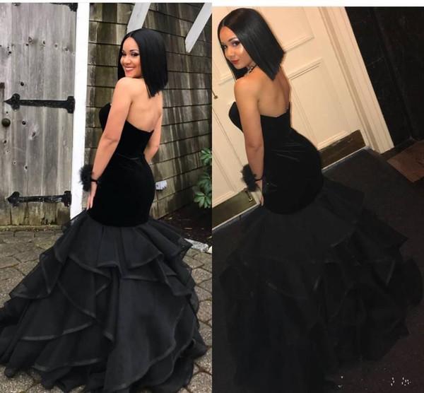 Black velvet mermaid prom dresses 2019 sleeveless tiered organza floor length formal party dress evening gowns wear robes de soirée