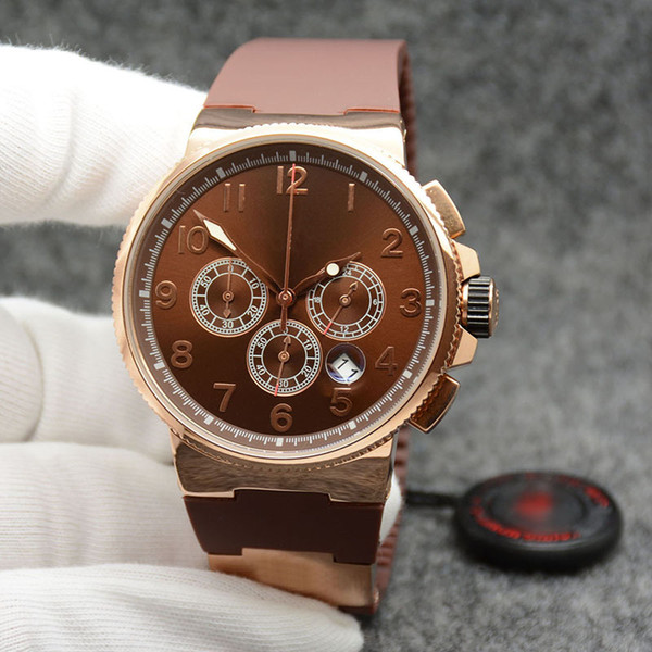 noble executive dual time men watch marine chronograph brown dial un-153 quartz battery rubber strap wristwatches mens watches, Slivery;brown