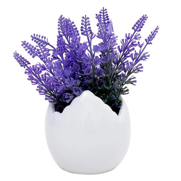 Idyllic Lavender Flower Pot Artificial Flowers For Decoration Creative Ceramic Eggshell Potted Ornament Desktop Home Decor