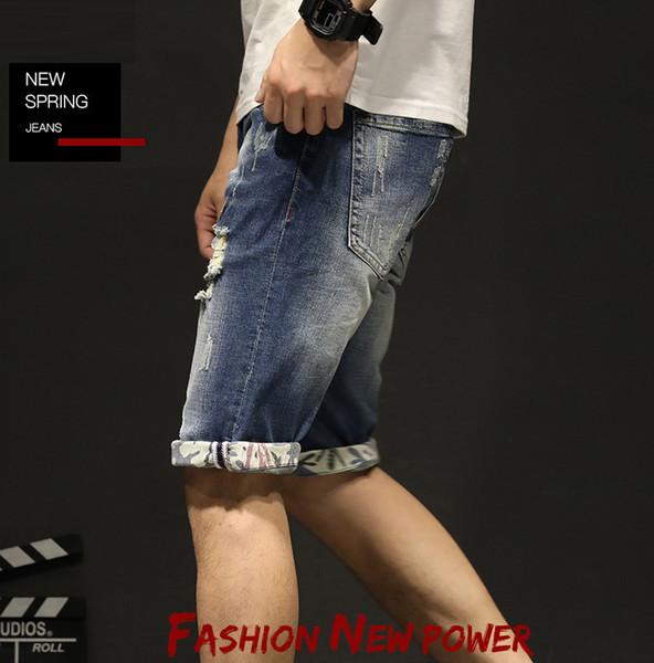 2019 hommes porter été nouvelle shorts tendance de la mode déchiré pantalon en denim de haute qualité au détail en gros jean jean shorts