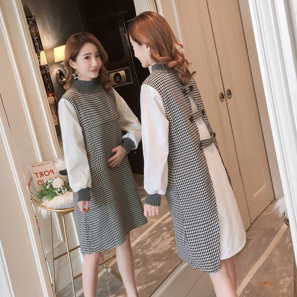 82be3ffc9 Vestido de maternidad de punto de cuello alto para la lactancia Otoño  invierno Ropa de moda
