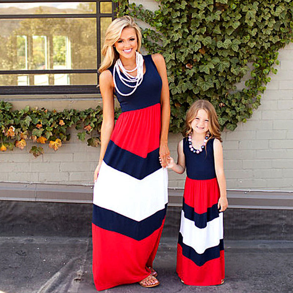 2019 Mommy And Me Family Matching Mother Daughter Dresses Clothes Striped Mom And Daughter Dress Kids Parent Child Outfits Y19051504