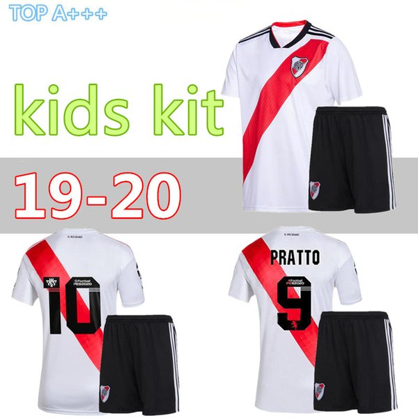 2019 2020 niños kit de Río de la Plata el fútbol casero Jersey Río negro placa G.MARTINEZ QUINTERO PRATTOSoccer camisa 19/20 cauce de fútbol uniformes