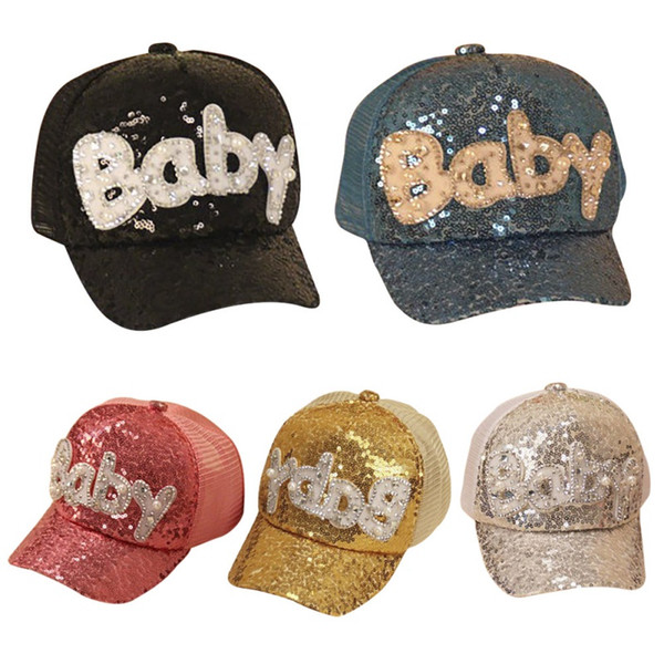 2019 Summer Parent-child Fashion Lovely Sequin Letter Pattern Hip Hop Cap Casual Style Mesh Eye Visor Sun Cap Baby Clothing