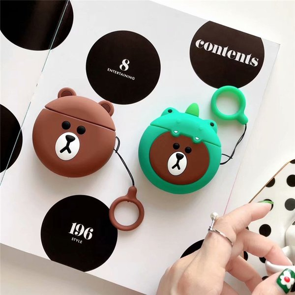 Cartoon Anime Silicone Earphone Cover For Apple AirPod Wireless Bluetooth Earphone Case Cute Hook Clasp Keychain Anti Lost Headphone Case