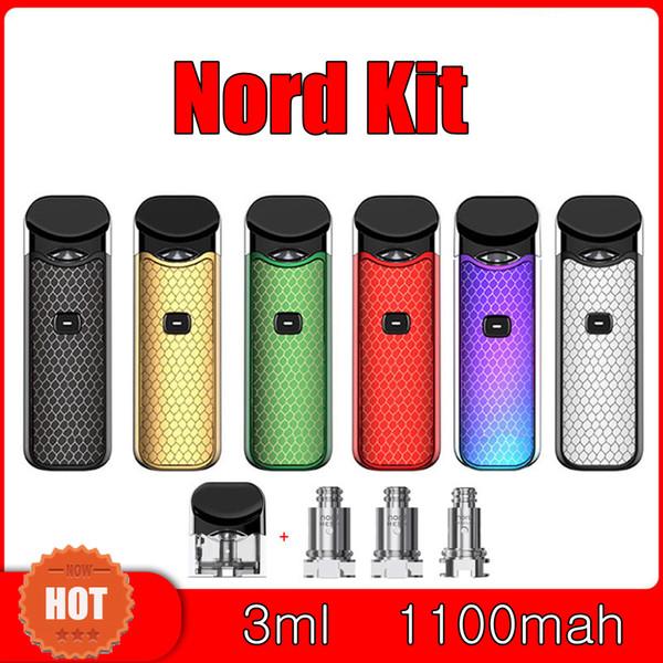 SMOKING Nord Starter Kits 1100mAh Battery 3ML Vape Cartridges Atomizer With  0 6ohm Mesh Coil Electronic Cigarette Novo Pod Vaping Kit Vivid E