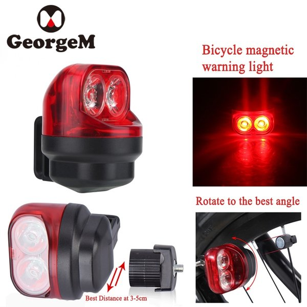 GeorgeM Magnetic Induction Riding Warning Mountain Bike Light Cycling Rear Front Tail Wheel Light with Holder Bicycle Accessory #136919