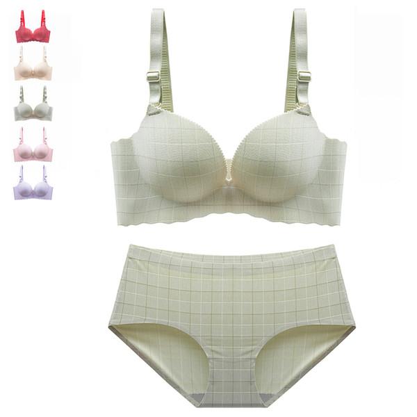 Sexy Bra Set For Women Panties Lingerie Set Plaid 3D Cup Wire Free Seamless Bralette Push Up Bra Plus Size Underwear #D