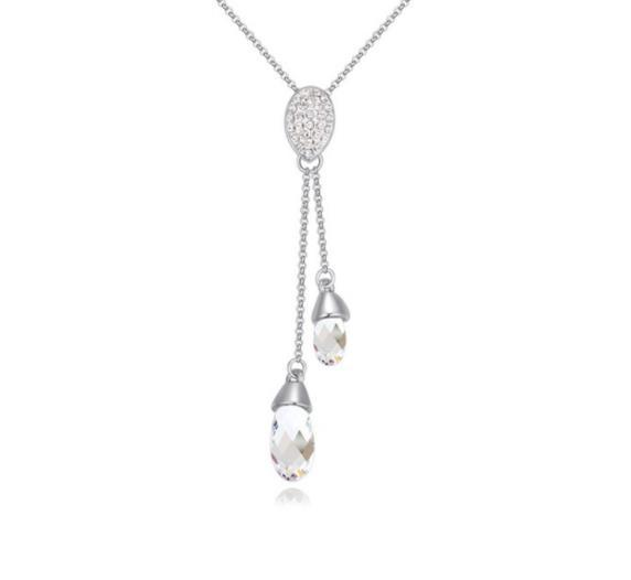 925 Stering Silver Chain Charms Silver Plated Dress accessories Swarovski Elements Austrian Crystal Necklace Beauty Tear Pendant W72