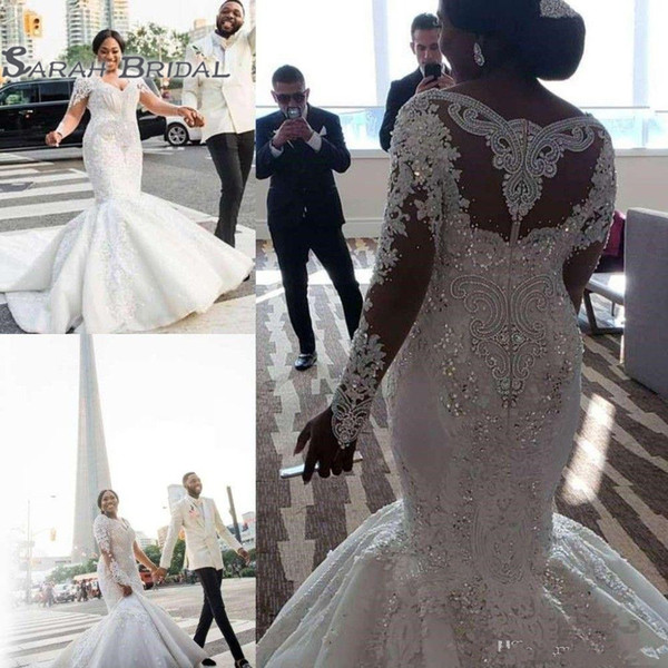 best selling African Gorgeous Plus Size Wedding Dresses Lace Appliques Beaded Crystals V Neck Mermaid Bridal Dress Long Sleeves Bride Party Gowns