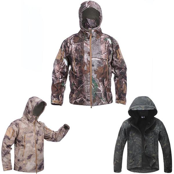 Coole Herren Camouflage Military Tactical Jacket Outdoor Sports Camping Wandern Skifahren Fahrrad-Mantel Mens Camo Taschen mit Reißverschluss Jacken