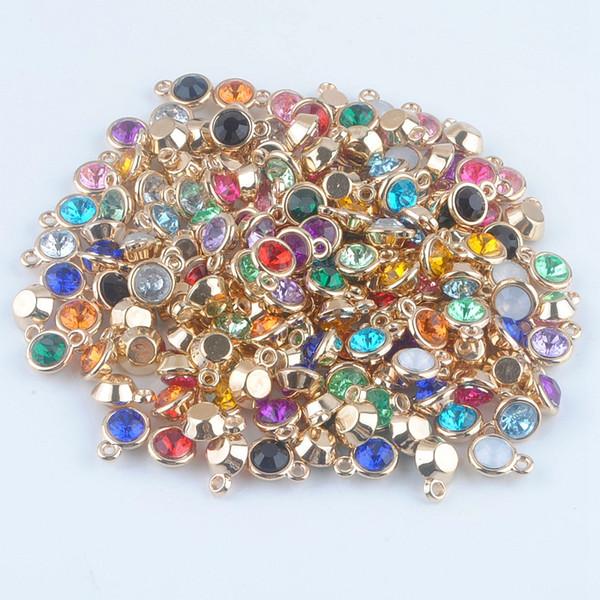 (150pcs / lot) mischte Birthstone Charme 11mm Acrylgoldanhänger für personifizierte Halskette und Armband Freies Verschiffen XY160419