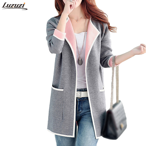 luzuzi 5xl autumn winter jacket women coats 2019 plus size knitted cardigan jackets female outerwear casual coat jaqueta mujer, Black;brown
