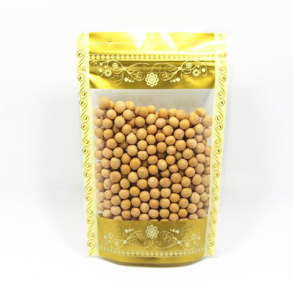 DHL Stand Up 14 * 20см 600pcs / Lot Gold Zip замок Clear чемоданчик с Window Домашняя печать Пластиковые еды Упаковка Мешки мешка сжатия пакета мешок