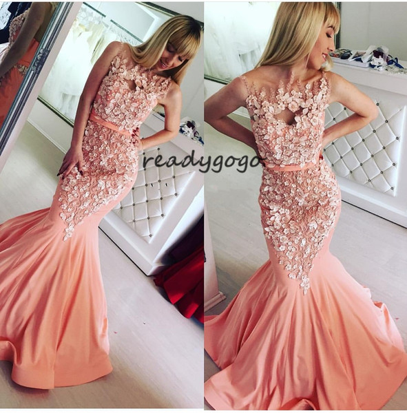 Peach Pink Mermaid Evening Gowns 2019 Prom Dresses Illusion O-Neck 3D Applique Beaded Formal Party Dress Custom Made