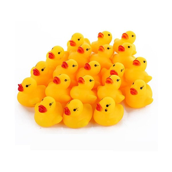 top popular Free DHL Fedex UPS Mini Rubber duck bath duck PVC with sound Floating Duck Baby Bath Water Toy for Swimming Beach Gift 2021