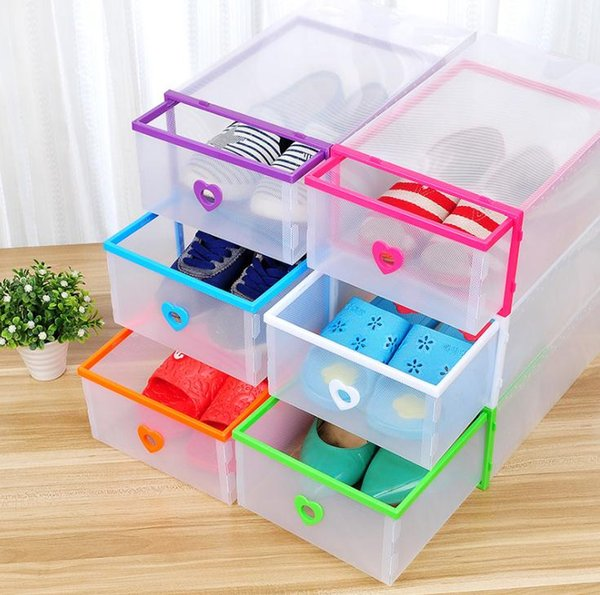 Drawer Type Transparent Shoe Box Thickening Plastic Wrapping Storage Box Stackable Foldable Cost Effective Rectangle Bins Hot Sell SN3045