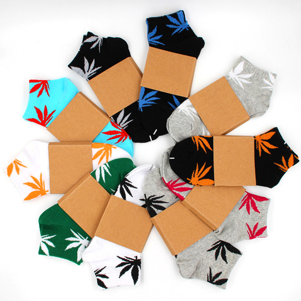 top popular Men Women Ankle Socks Print of Leaves Unisex Cotton Skateboard Boat Ship Sock 2021