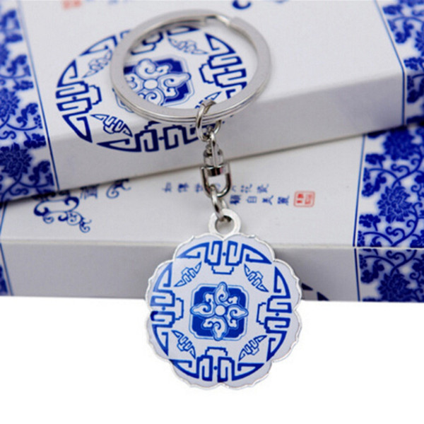 Creative Chinese Blue And White Porcelain Round Vase Keychain Metal Gift Key Pendant Keyring Tourist Souvenir