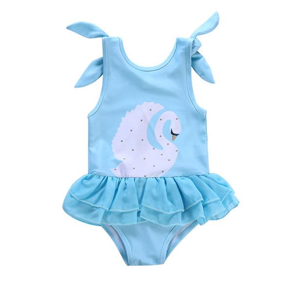 Novo design do bebê meninas swimsuit cisne Flamingo impresso bebês maiô crianças one-piece swimwear princesa roupas de praia