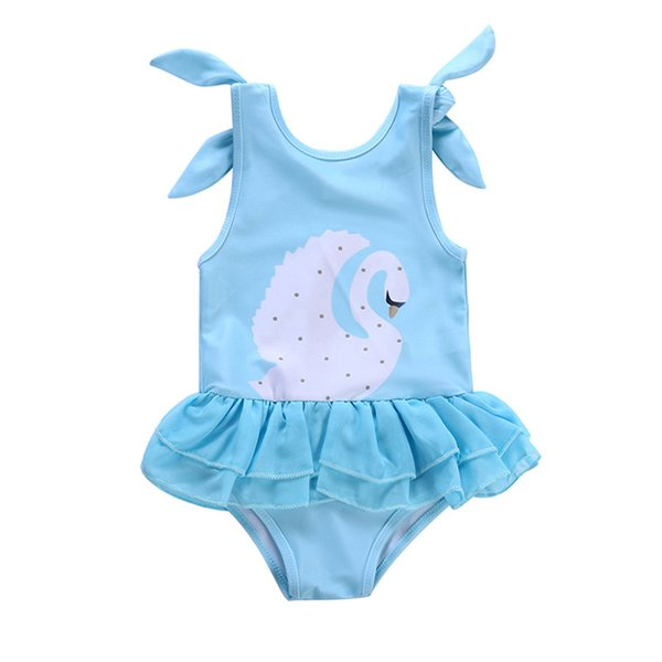 b18a4043762 New design baby girls swimsuit swan Flamingo printed babies bathing suit  kids one-piece swimwear princess beach clothes