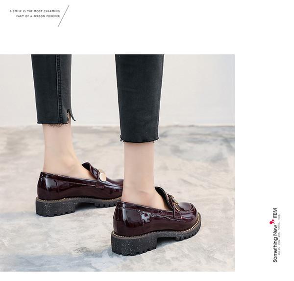 Kaba belgesel 2019 New England rüzgar küçük deri ayakkabı ve kadın ayakkabı kod 33-4200 düz taban ile sonbahar ayakkab ...