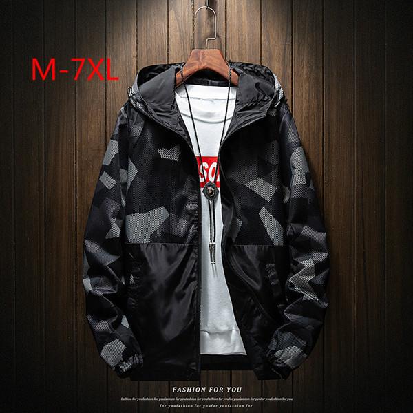 Erkekler Artı Boyutu 7XL Ceket 2019 İlkbahar Sonbahar Yeni Rahat Kamuflaj Ceket Erkekler için Yüksek Kaliteli Bombacı Ceket Erkek Kırmızı Gri