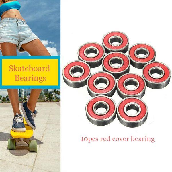 New10pcs Red Cover Cuscinetto Ad Alta Precisione ABEC-7 In Acciaio Al Cromo Piatto di Pesce Skateboard Roller Skating Cuscinetto Ad Alta Velocità di Skateboard