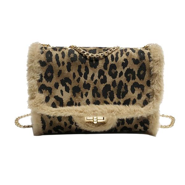 Borsa a tracolla # 30 in pelle di leopardo con tracolla in pelliccia selvaggia