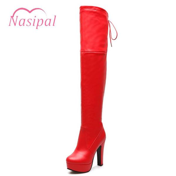 Nasipal Plus size Donna Sexy Fetish Dance Nightclub Scarpe da festa Piattaforma Tacco alto spesso Stivali sopra il ginocchio Stivali da coscia