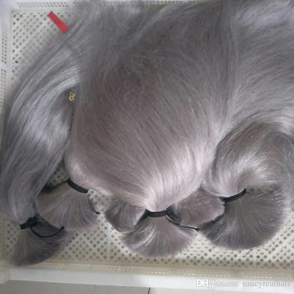 Elibess Brand - Cheveux Humains En Vrac sans trame Top Grade Indien Péruvien Brésilien Soie Extension de Cheveux Raides 300gr couleur Gris Argent