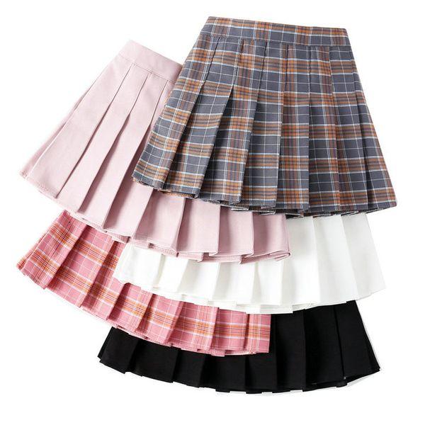 Perakende çocuklar lüks tasarımcı giysi kızlar büyük kız Klasik ekose pileli etek moda tiki fırfır tutu etek çocuk giyim% 50 indirim