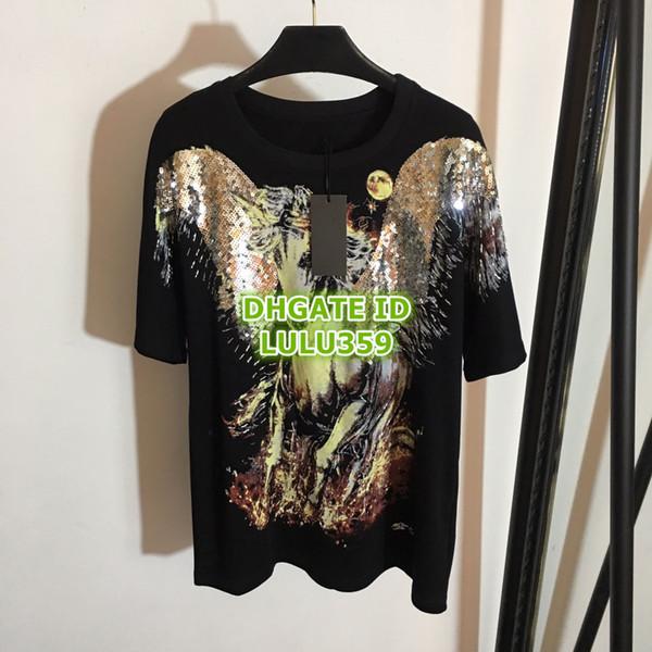 Women's Animal Pegasus Print Short T-Shirt Cotton Beads Tops Apparel Shirt High Quality Customize Short Sleeve Tee S-M-L