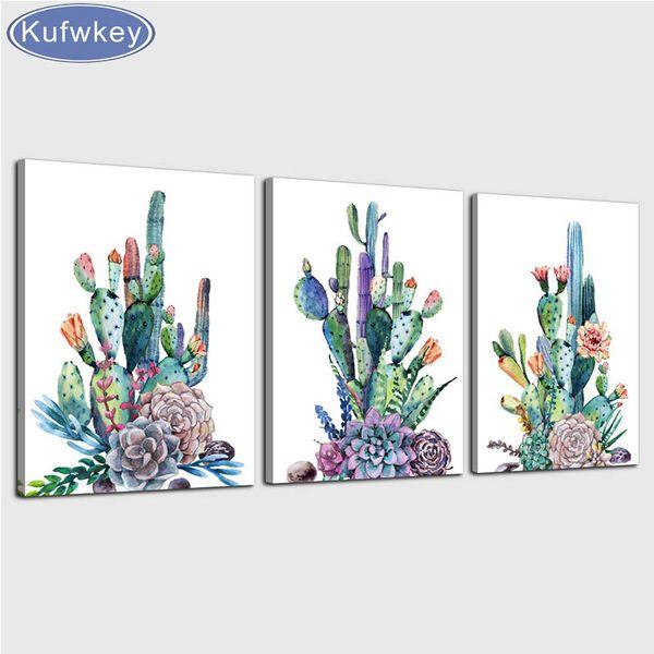 Diamond painting cross stitch kits 3pcs/set canvas Art Simple Life Green Cactus Desert Plant Painting full diamond embroidery