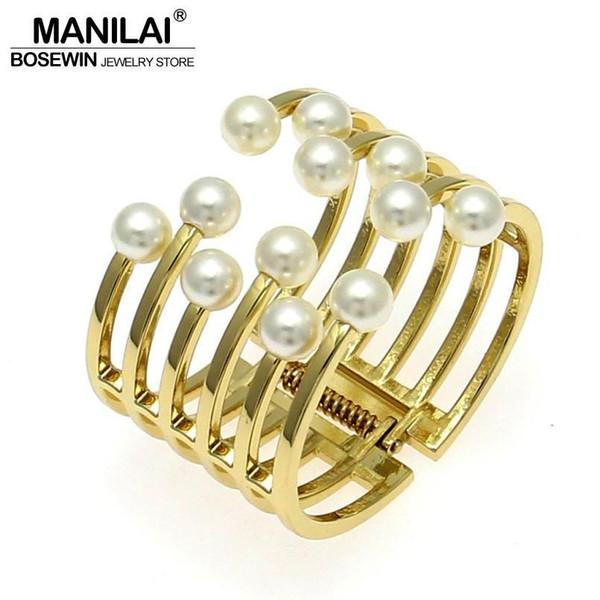 Winkel Mode MANILAI Mode Frauen Armbänder Jonc Charm Zubehör nachgemachte Perlen-Stulpe-Armband-Armbänder Manchette Statement Schmuck ...