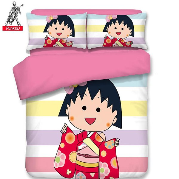 Girls Cartoon Sakura Momoko Lovely Home Decor Fashion 3PCS Duvet Cover Set without Quilt High End Bedding Set Four Season 2019