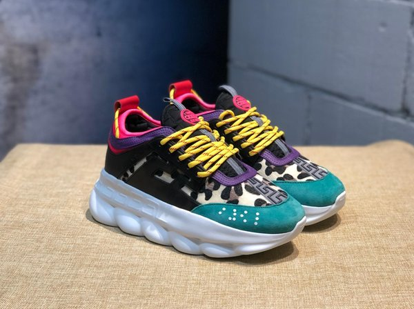 Chain Reaction Brand mens Designer shoes Trainers Casual ace Shoes Lightweight Chain-linked Rubber designer sneakers size 35-45