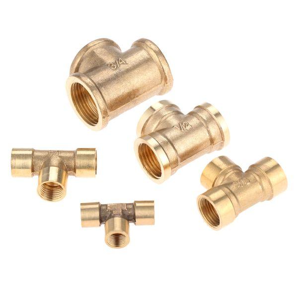 """Rohre Fittings Rohrfittings DRELD Innengewinde 3-Wege-Messing-Rohrfitting Adapter-Koppler-Verbindungsstück für Wasser-Luft-Pneumatic Tool 1/8 \ """"1/4 \"""""""